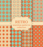 Vector illustration set of seamless retro patterns.  royalty free illustration