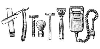 Vector illustration set of shaving accessories Royalty Free Stock Photos