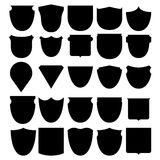 Vector illustration set shields black Royalty Free Stock Photos