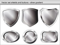 Vector Illustration Set. Shiny Shield And Button Royalty Free Stock Image