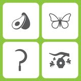 Vector Illustration Set Of Simple Farm and Garden Icons. Elements Avocado, Butterfly, Scythe, Hive. On white background Royalty Free Stock Photos
