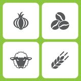 Vector Illustration Set Of Simple Farm and Garden Icons. Elements garlic, Coffee bean, Sheep, wheat. On white background Royalty Free Stock Photos