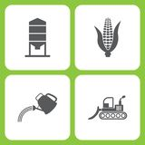 Vector Illustration Set Of Simple Farm and Garden Icons. Elements Granary, Corn, watering can, bulldozer. On white background Stock Photos