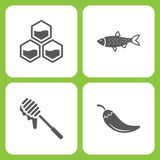 Vector Illustration Set Of Simple Farm and Garden Icons. Elements honeycomb, fish, Honey, Pepper. On white background Stock Photo