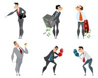 Set of six businessmen Stock Images