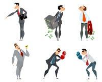 Set of six businessmen. Vector illustration of set of six businessmen Stock Images