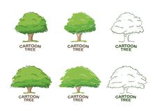 Set of Six templates for logo design with trees. Sketch. royalty free illustration