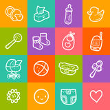 Vector illustration set with sketchy baby square icons. Royalty Free Stock Images