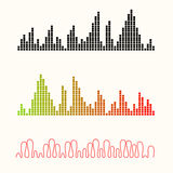 Vector illustration set of sound equalizer visualization. Royalty Free Stock Photos