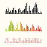 Vector illustration set of sound equalizer visualization. Royalty Free Stock Photos