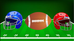 Vector illustration. Set of sport equipment. American football. Stock Photos