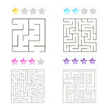 Vector illustration of set of 4 square mazes for kids Stock Photos