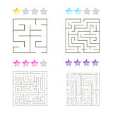 Vector illustration of set of 4 square mazes for kids Royalty Free Stock Image