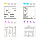 Vector illustration of set of 4 square mazes for kids Stock Photo