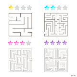 Vector illustration of set of 4 square mazes for kids. At different levels of complexity Royalty Free Stock Photography