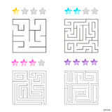 Vector illustration of set of 4 square mazes for kids. At different levels of complexity Stock Image