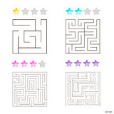 Vector illustration of set of 4 square mazes for kids. At different levels of complexity Stock Photos