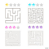 Vector illustration of set of 4 square mazes for kids. At different levels of complexity Royalty Free Stock Images