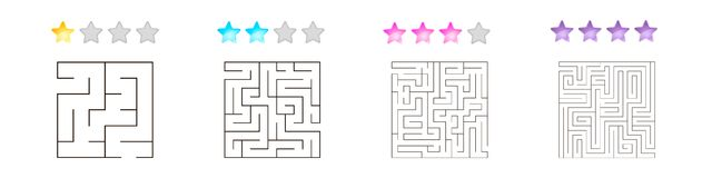 Set of 4 square mazes for kids at different levels of complexity. Vector illustration of set of 4 square mazes for kids at different levels of complexity stock illustration
