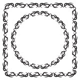 Vector illustration. set. square and round decorated frame Royalty Free Stock Image