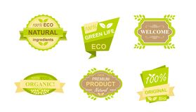 Vector illustration set of stickers and badges for natural organic food, farm fresh products, vegan restaurant, food. Store, healthy products promotion. Natural stock illustration