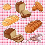 Bread stickers. Vector illustration set of stickers with various bread on a plaid background. Hand drawn icons for design vector illustration