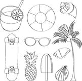 Vector illustration set of summer lovely things Royalty Free Stock Photos