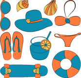 Vector illustration set of summer lovely things Royalty Free Stock Image