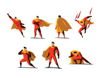 Vector illustration set of Superhero actions, different poses. Vector illustration set of Superhero actions, different poses, business power icons set, cartoon Royalty Free Stock Photography