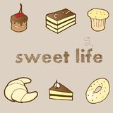 Vector illustration set: sweet cakes and pastries. Vector illustration for your design: sweet cakes and pastries Stock Image