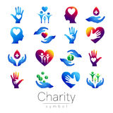 Vector illustration. SET Symbol of Charity. Sign hand isolated on white background.Blue Icon company, web, card, print Royalty Free Stock Photos