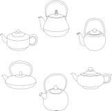 Vector illustration of set teapot silhouette. Vector illustration of set of teapot silhouette Stock Photo
