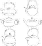 Vector illustration of set teapot silhouette. Vector illustration of set of teapot silhouette Stock Photos