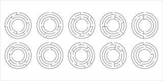 Vector illustration of a set of ten circular mazes. For kids Stock Photos