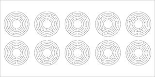 Vector illustration of a set of ten circular mazes. For kids Royalty Free Stock Photo