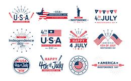 Vector illustration set of 4th of July icons, United Stated independence day greeting. Elements for greeting cards vector illustration