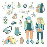 Vector illustration set on the theme of outdoor, hiking , camping, picnic. vector illustration