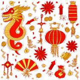 Vector illustration set of traditional Chinese elements. Lanterns, fan, flowers and other decoration items. Vector illustration set of traditional Chinese vector illustration