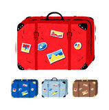 Vector illustration set of travel suitcases Royalty Free Stock Photography
