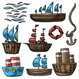 Vector illustration set of various cartoon ship lifebuoy anchor sea waves royalty free illustration
