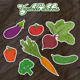 Vector illustration of set of vegetable stickers- beet, carrot, broccoli, cucumber, tomato, pepper and eggplant on wooden backdrop Stock Photo