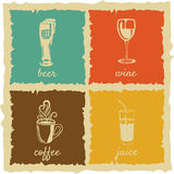 Set of Vintage cups Labels Stock Photography