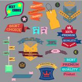 Vector illustration set of vintage Label, Banner Tag Sticker Badge and Ribbons design elements. Origami banners. ribbons sale Royalty Free Stock Images