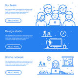 Vector illustration of set website banners with blue icon in flat line style. Linear cute and happy people teamwork. Royalty Free Stock Image