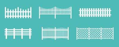 Vector illustration set of white rural wooden fences, silhouettes fence for garden and house concepts, flat cartoon vector illustration