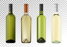 Vector illustration. Set of white wine bottles in photorealistic style. A realistic objects on a transparent background. 3D Realism. Vector illustration. Set of Royalty Free Stock Photography