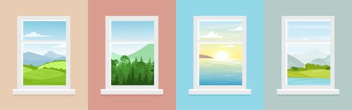 Vector illustration set of windows with different landscapes. Town and sea, forest and mountains views from the windows. In flat cartoon style stock illustration