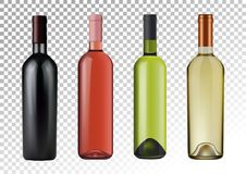 Vector illustration. Set of wine bottles in photorealistic style. Pink, white, red wines. A realistic objects on a. 3D Realism. Vector illustration. Set of wine Royalty Free Stock Image