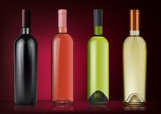 Vector illustration. Set of wine bottles in photorealistic style. Pink, white, red wines. A realistic objects on on dark. 3D Realism. Vector illustration. Set of Royalty Free Stock Photos