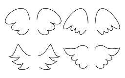 Vector illustration set with wing icon isolated on white background Royalty Free Stock Photos